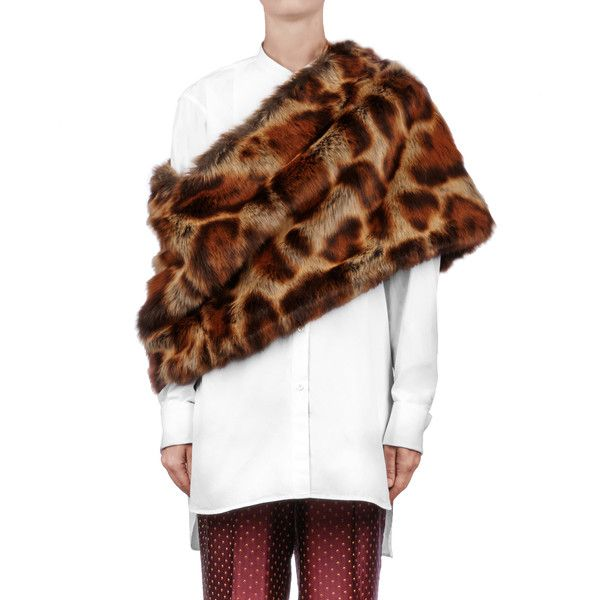 Dries Van Noten Francis Scarf ($605) ❤ liked on Polyvore featuring accessories, scarves, brown, fake fur shawl, dries van noten scarves, brown scarves, dries van noten and faux fur scarves