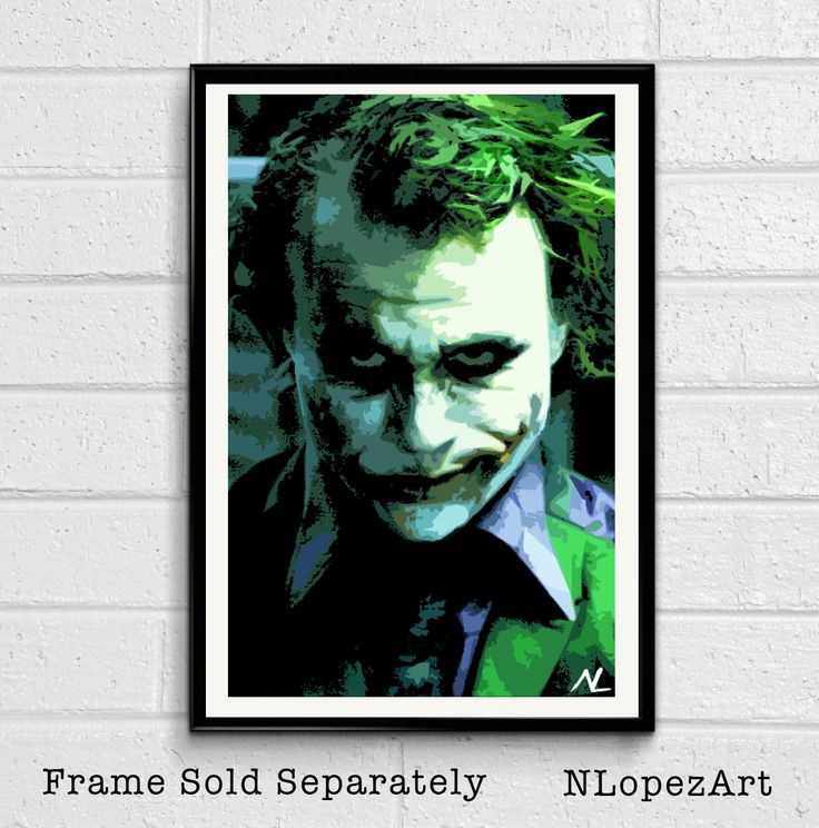 Joker Heath Ledger From Batman The Dark Knight Pop Art Poster Print #3 Size 11 x 17 for $15 + S&H. This order is printed on high quality 110lb card stock paper. Check it out at (https://www.etsy.com/listing/104533261/joker-heath-ledger-from-batman-the-dark?ref=shop_home_active_8)