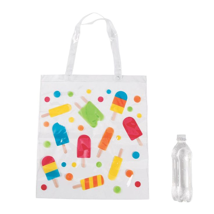 Large Ice Pop Party Tote Bags Clear
