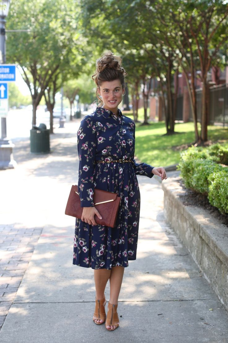 Modest navy dress with poppies and posies print. Modest apparel and bridesmaids' dresses. www.daintyjewells.com