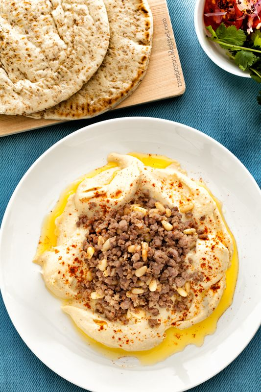 Beyrouti Hommos (hummus with lamb and pine nuts)