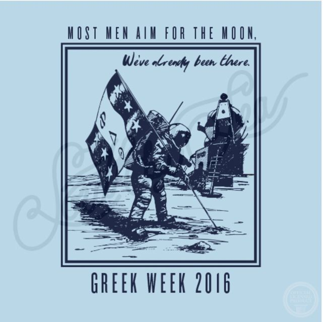 Phi Delta Theta | Phi Delt | Most Men Aim for the Moon | We've Already Been There | Greek Week | Philanthropy Design | Moon Landing | South by Sea | Greek Tee Shirts | Greek Tank Tops | Custom Apparel Design | Custom Greek Apparel | Sorority Tee Shirts | Sorority Tanks | Sorority Shirt Designs