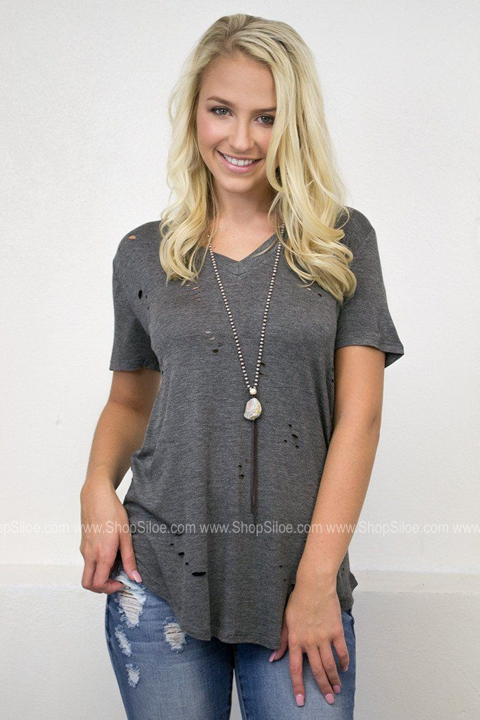 Destroyed Slouchy Top | Faded Tones