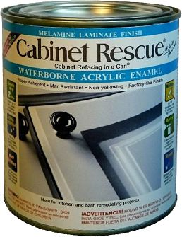 This paint is made to refinish Formica cabinets! Great, huh? Add a little moulding and trim, and you're set! Who needs new cabinets that cost a fortune!