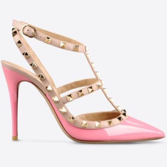 """Valentino RockStud Heels Gorgeous """"Nymphea"""" pink patent leather RockStud heels 100mml. In near perfect condition and only work around the house since they are too large for me. Have never been worn outside. Beautiful shoe and 100% authentic. Comes with box and dust bag as well as extra RockStuds. Bundle percentage off cannot be applied to these! Sorry ladies! Valentino Shoes Heels"""
