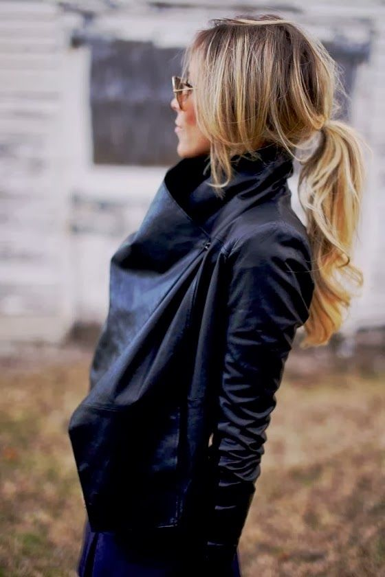 Happily Gray Leather Wrap Jacket Love the hair