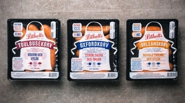 Lithell's sausage packaging has an updated image but hearkens back to its traditional past.