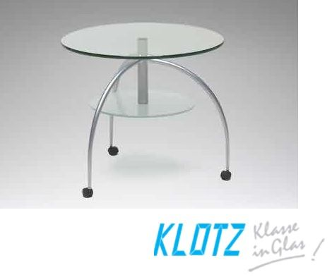 Klotz glas  tafel 3 poot bijzettafel  60 cm.rond   52 cm hoog wielen slaapkenner theo bot  Dealer: Slaapkenner Theo Bot Zwaag / Hoorn www.theobot.nl