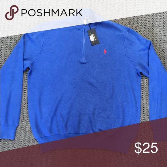 NWT Men's Blue Polo Sweater XXL This is Pima cotton Polo half zip up sweater in royal blue. NWT!! Polo by Ralph Lauren Sweaters