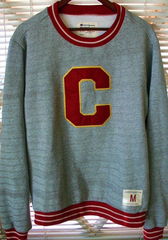 Hipster Vintage Medium Champion Sweatshirt Letterman Cuffs & Neck ...