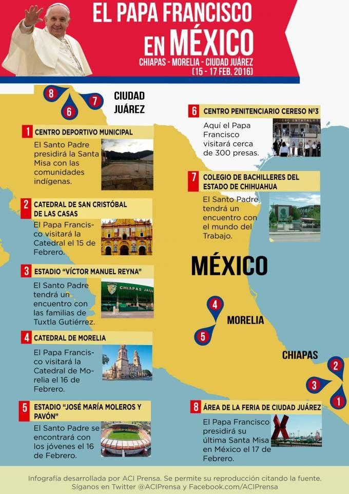 [INFOGRAFÍA] Itinerario del Papa para las ciudades de Chiapas, Morelia y Ciudad Juárez 30/01/2016 - 12:54 pm .- El Papa Francisco viajará a México del 12 al 17 de febrero.