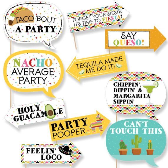 Funny  Let's Fiesta Photo Booth Props  by BigDotOfHappiness