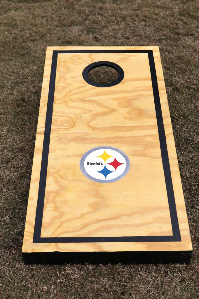 """For my boys. Just have to change the """"Steelers"""" to BYU!: Steelers Corn, Diy Cornhole, Summer Parties, Hole Diy, Beans Bags Boards, Summer Games, Corn Hole Games, Cornhole Boards, Games Diy"""