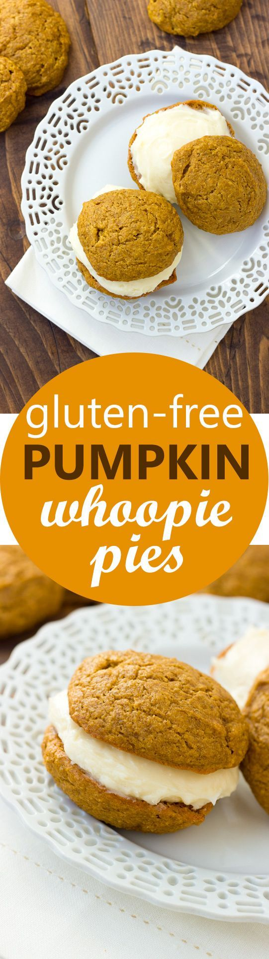 Gluten-Free Pumpkin Whoopie Pies! Two moist, spiced pumpkin cookies filled with…