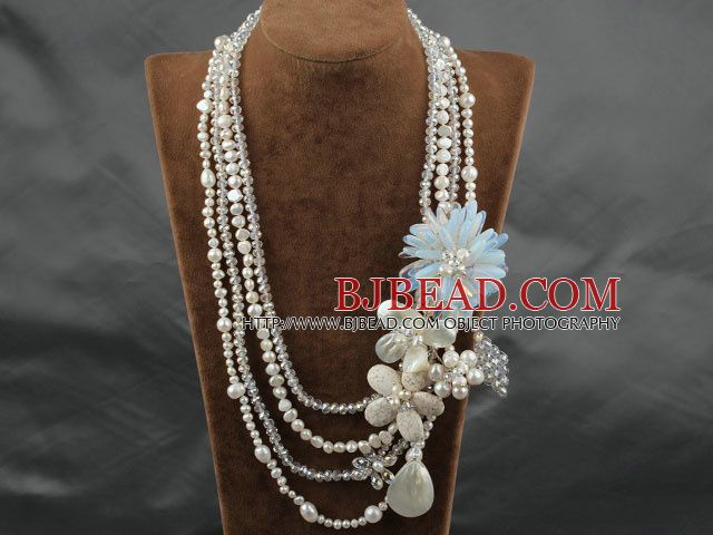 White Series Gran Strands estilo múltiple Crystal White Pearl y Howlite y Shell Flower Party Collar