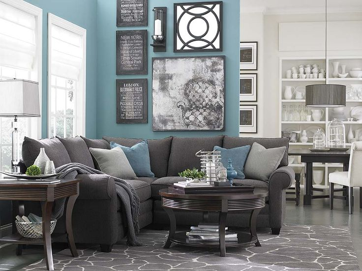 Blue Turquoise Living Room with L Shaped Sofa