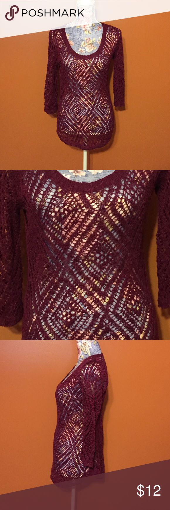 3/4 length layering shirt size Small. Cute layer shirt in a wine color. Size Small. From Maurices in excellent condition. Maurices Tops Tees - Short Sleeve