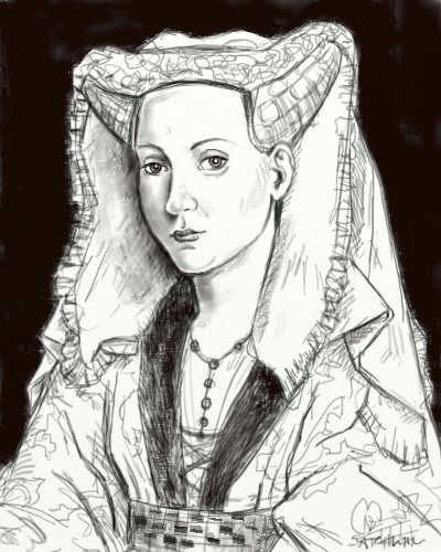 Jacquetta, Duchess of Bedford pencil sketch by artist Mark Satchwill (love him) via Susan HigginbothamWoodvil Gallery, Ancient History, English History, Artists Mark, Pencil Sketches, Woodvil Families, History Reference, Jacketta Woodvil, Bedford Pencil