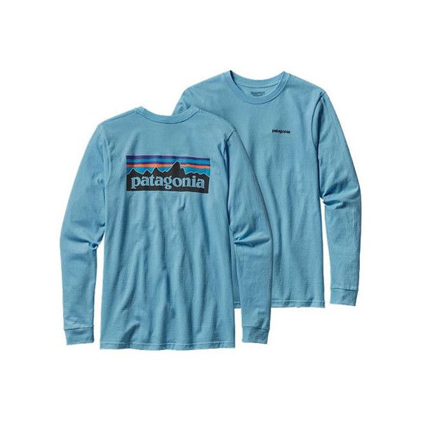 Men's Patagonia Long-Sleeved P-6 Logo Cotton T-Shirt - Lite Electron... ($45) ❤ liked on Polyvore featuring men's fashion, men's clothing, men's shirts, men's t-shirts, mens blue t shirt, mens blue shirt, mens longsleeve shirts, mens cotton shirts and mens long sleeve graphic t shirts