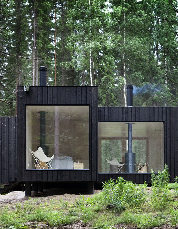 ...Forests, Modern Cabins, Dreams, Wood, Big Windows, Small House, Architecture, Glasses House, Black