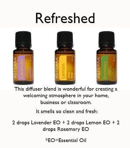 Refreshed diffuser blend with Essential Oils.