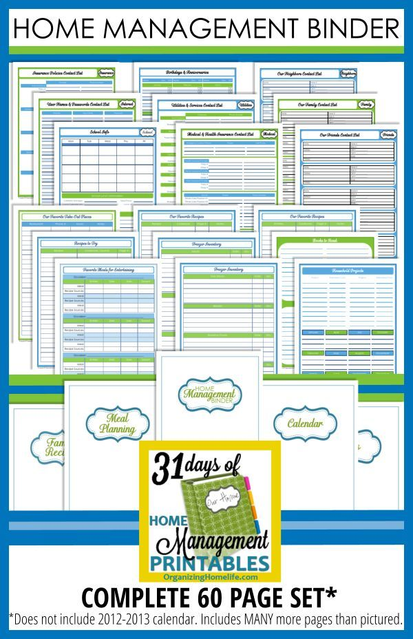 Printable Home Planner Organizing Home Management Binder. The best pin I've ever pinned. Not kidding. Best Ever.