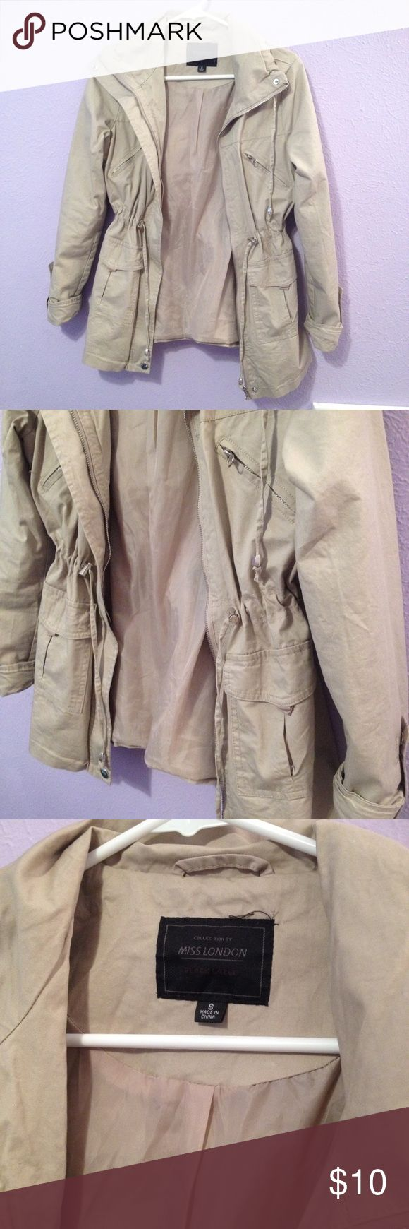 Women's Tan Military Style/ Utility Jacket Perfect condition, worn once! Fits true to size! NO TRADES :) Miss London Jackets & Coats Utility Jackets