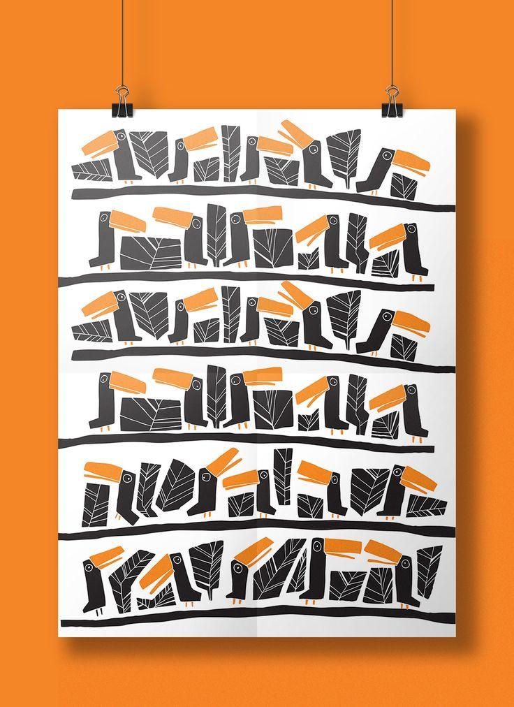 #Toucans #pattern #basiaillustration #poster #illustration #tucano #orange #print #manaus illustration