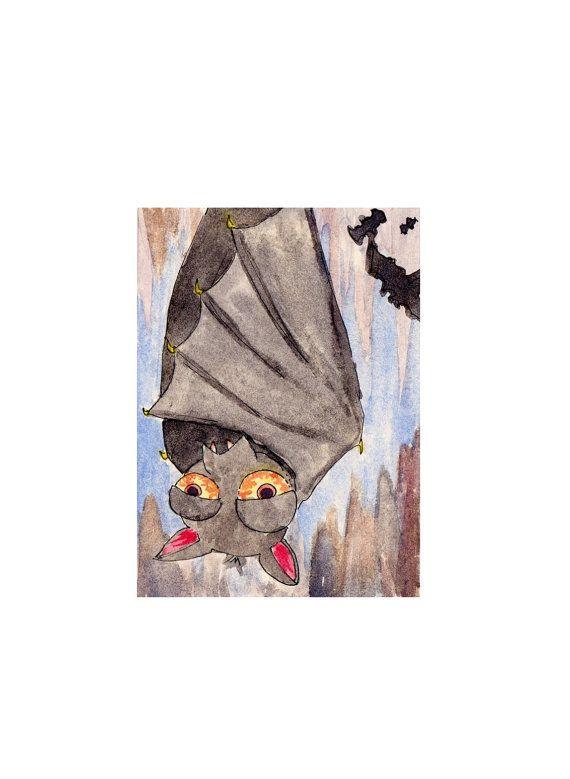 Aceo #card Sleepy Bat original watercolour art