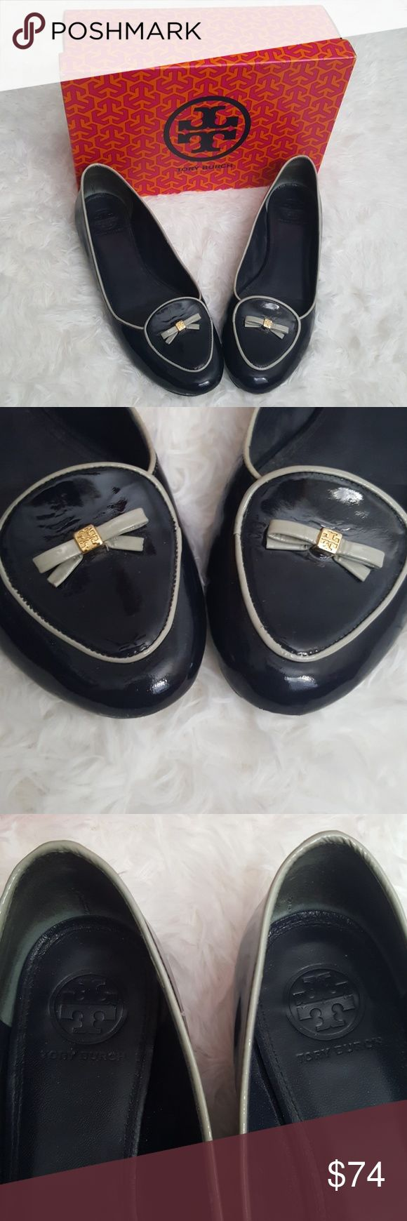 Tory Burch navy patent bow flats Great condition. Nice navy color with grey trim and cute grey bow with gold logo. Some wear but lots of life left! Small scuff on front toe at bottom, can't see it from above only if you turn the shoe over. Comes with a Tory Burch box but not the shoes original.  Size 10 Tory Burch Shoes Flats & Loafers