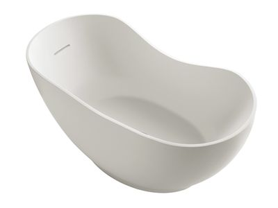 Abrazo Lithocast Oval Freestanding Bath  Features:    Lithocast cast acrylic plain bath  Matte finish with stone like appearance  Cast integral overflow  Flush integral click-up waste