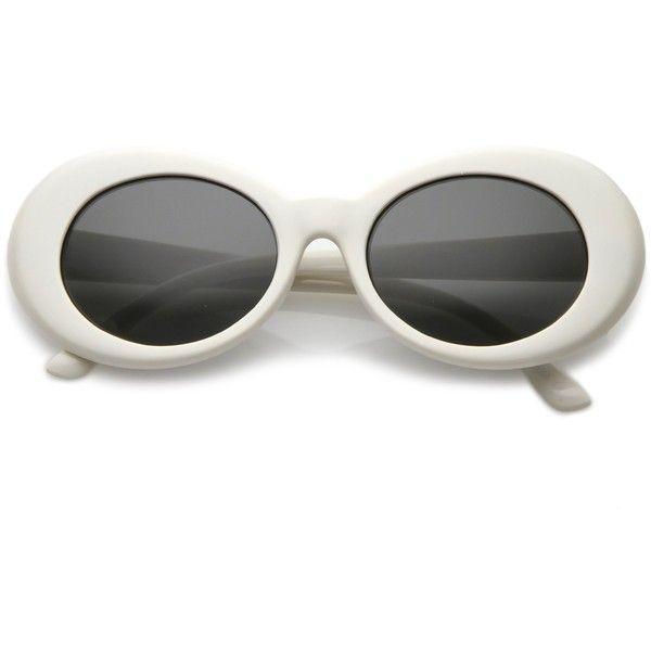 Women's Retro Disco Oval Pantone Lens Sunglasses 51mm C382 (180 MXN) ❤ liked on Polyvore featuring accessories, eyewear, sunglasses, retro glasses, white sunglasses, retro round glasses, oval sunglasses and lens sunglasses