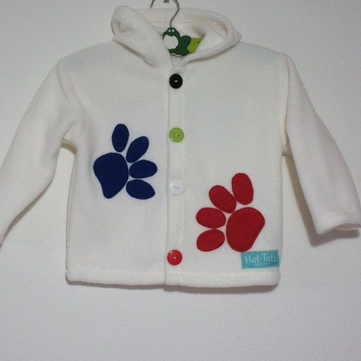 Warm kids Jacket 'Paws' on cream, fleece the one fabric you can buy in cream, it's so easy to wash. Keep them warm