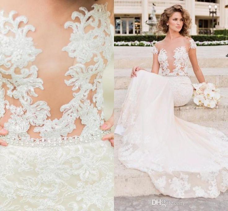 Vintage Lace Sheath Wedding Dresses Illusion See Through Bridal Engagement Dress Beach Boho Custom Made Beads Country Weddings Gown Designer Gown Discount Bridal Gowns From Kiss_wedding, $152.77| Dhgate.Com