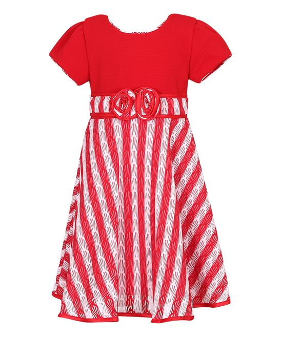 Red & White Stripe Party Dress - Toddler & Girls