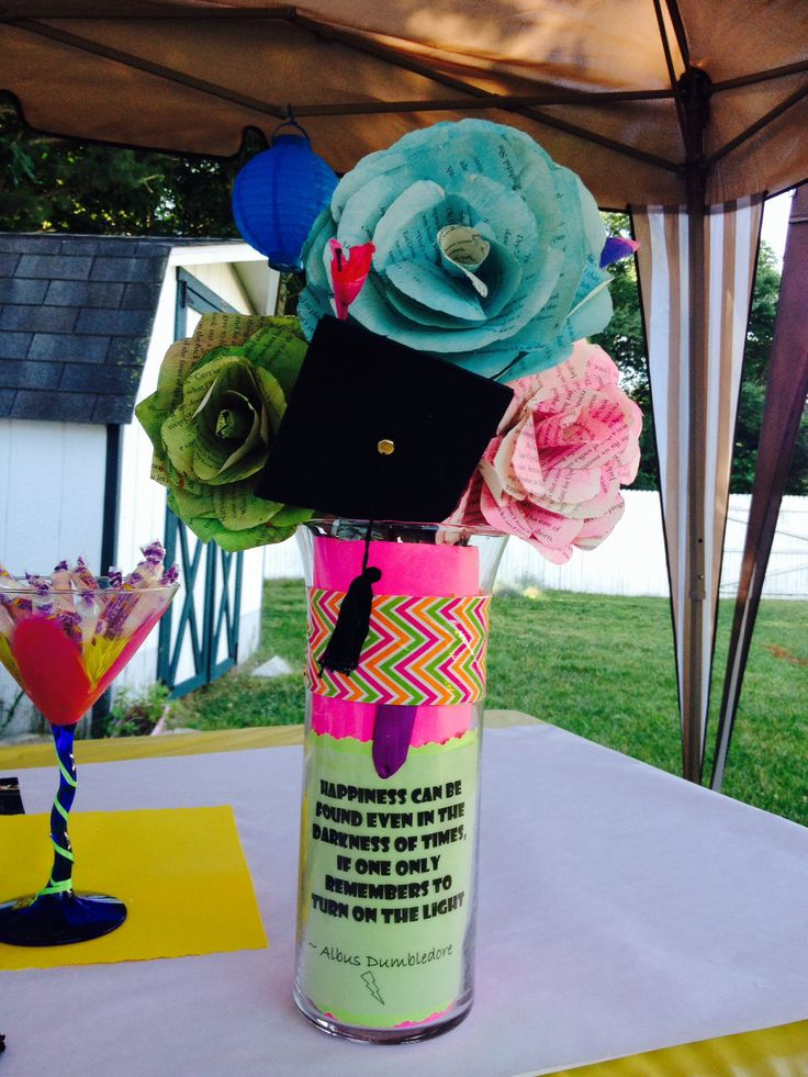 Center pieces made from old book pages with favorite quotes