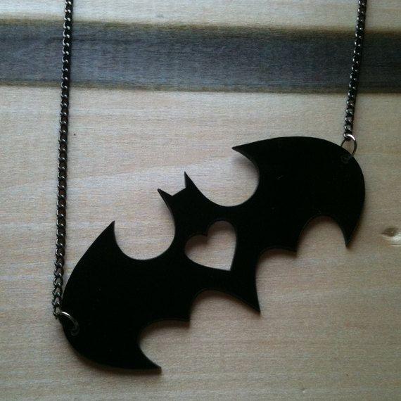 I heart Batman, Batman-Inspired Pendant, Black Acrylic on Etsy, $14.00 http://ziggacakedup.com/ This is cute but elegant. Me likey.