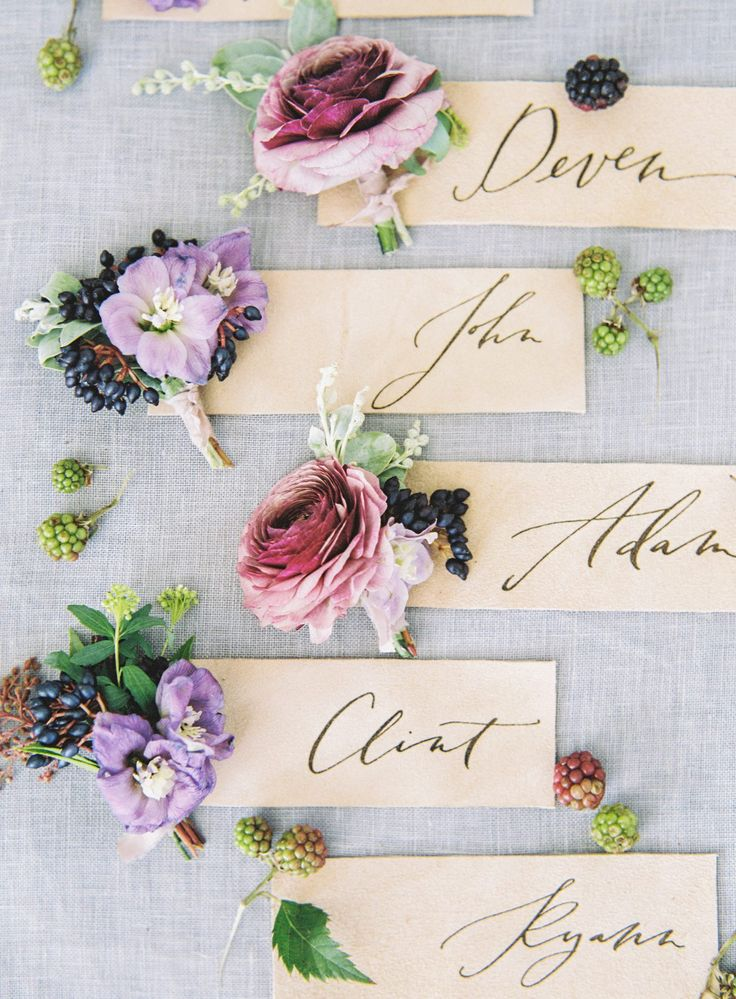 craft ideas for wedding place cards%0A Jewel toned boutonnieres   namecards