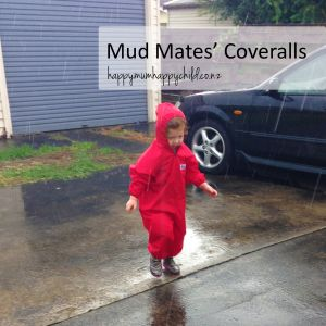 Mud Mates Coveralls review by Happy Mum Happy Child. Looking for waterproof clothing for children? The Mud Mates range of over-garments will keep your kid's clean, dry and warm.  www.mudmates.co.nz