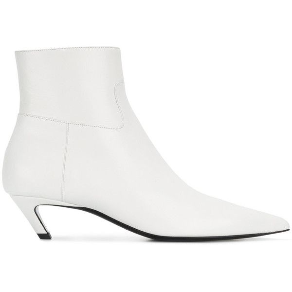 Balenciaga Talon Slash Booties (53.555 RUB) ❤ liked on Polyvore featuring shoes, boots, ankle booties, white, zipper booties, zipper boots, white leather boots, pointy-toe boots and pointed toe booties