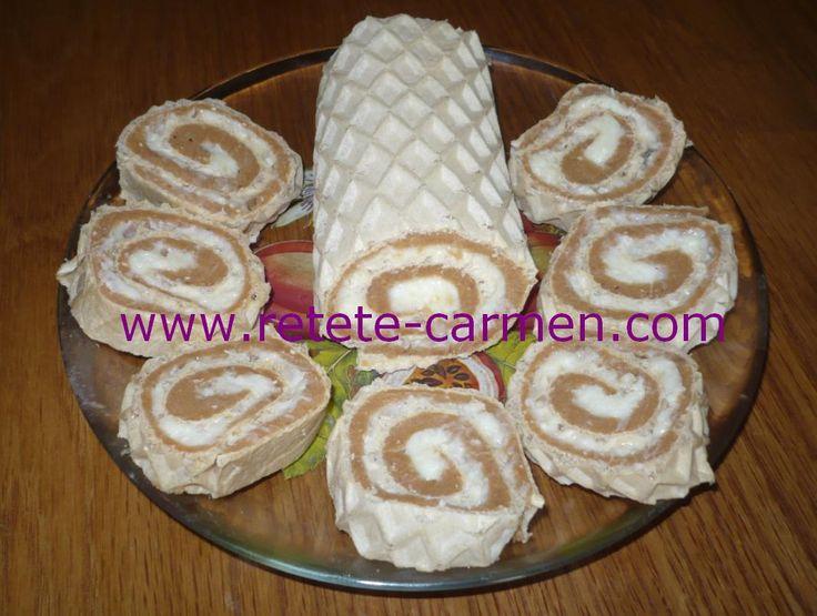 Felii de Rulada de napolitane cu crema de nuca de cocos