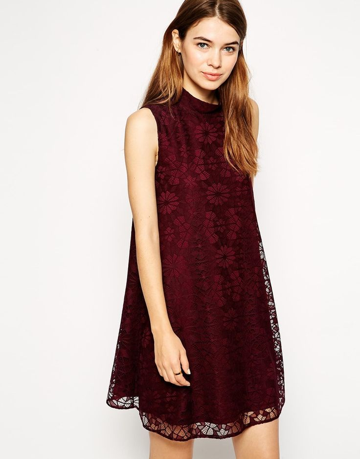 ASOS Lace Swing Dress with High Neck