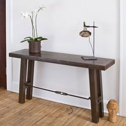 @Overstock - This unique iron console table features legs connected by a turnbuckle that adds a touch of industrial style. This handmade iron console table is a unique piece of world art to enhance any room.http://www.overstock.com/Worldstock-Fair-Trade/Iron-Turnbuckle-Console-Table-India/6153321/product.html?CID=214117 $429.99