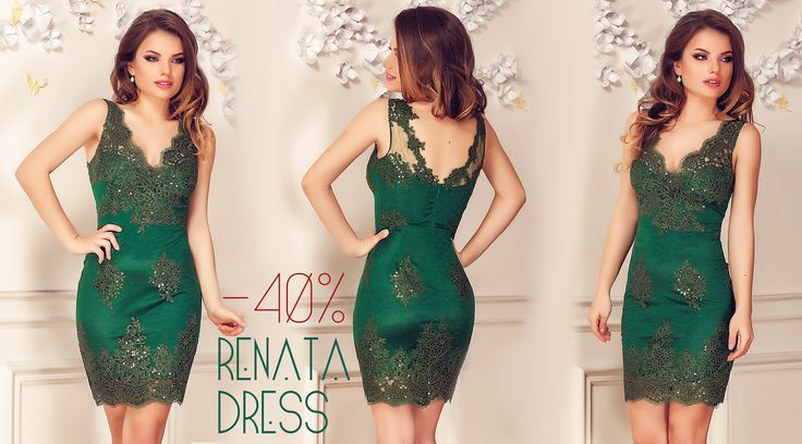Short lace evening dress in emerald shades, with sequins embroidery & 40% discount: https://missgrey.org/en/dresses/short-lace-evening-dress-with-sequins-embroidery-in-emerald-shades-renata/461?utm_campaign=februarie&utm_medium=renata_verde_reducere&utm_source=pinterest_produs