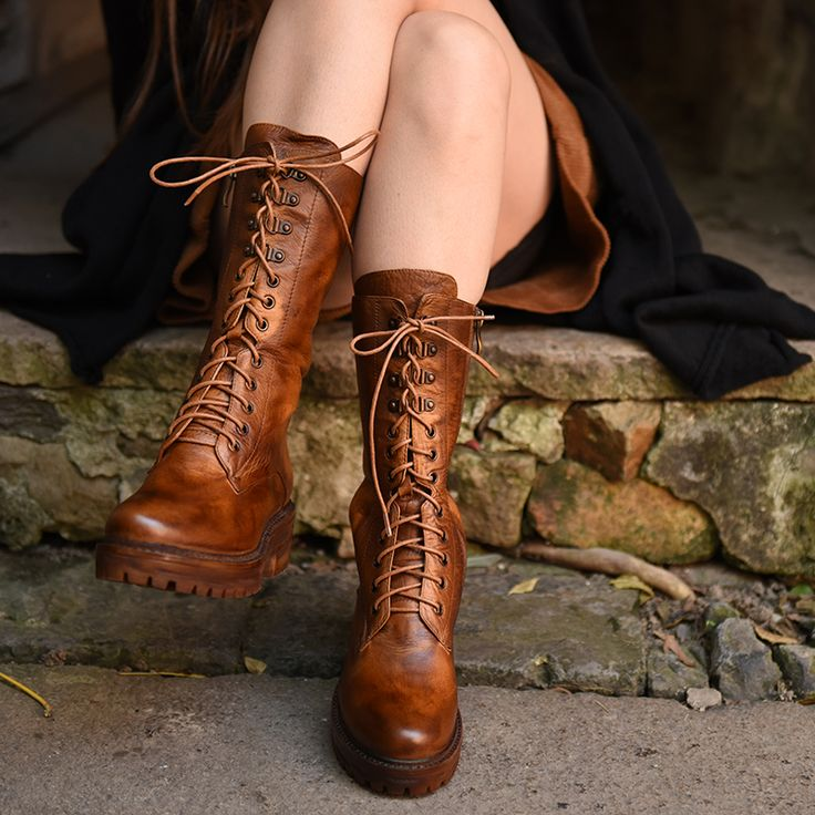 Artmu Street Unisex Fashion Vintage Handsome Martin Boots Cowhide Lacing Porous Medium-leg Women Boots