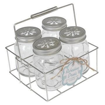 4 Drinking Jars with Carrier