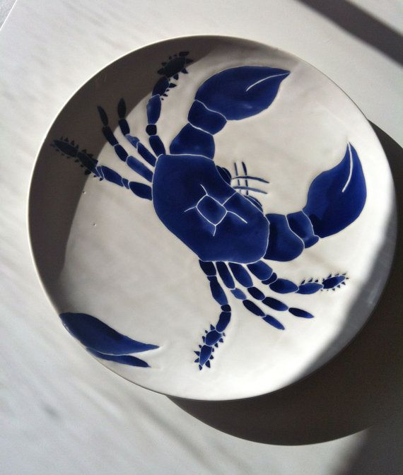 Céramique de crabe bleu marine tour de plateau de service
