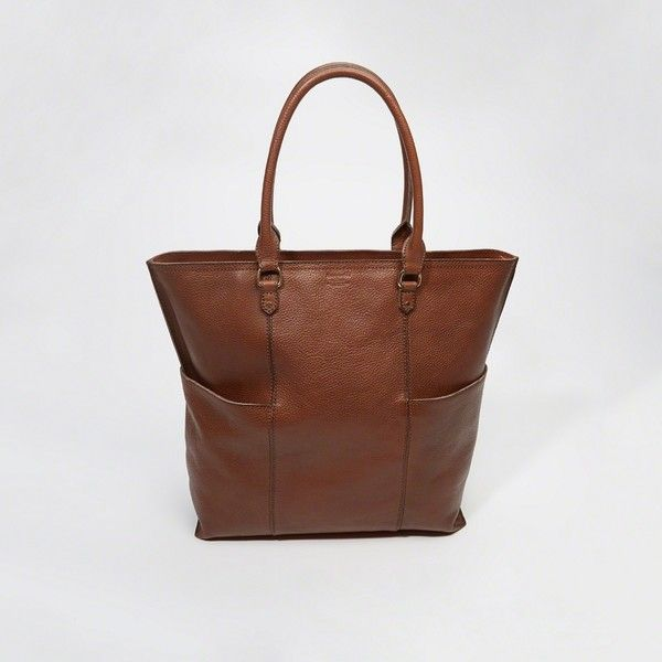 Abercrombie & Fitch Leather Tote ($150) ❤ liked on Polyvore featuring bags, handbags, tote bags, brown, leather tote purse, zip top leather tote, genuine leather tote, brown leather purse and zip top tote