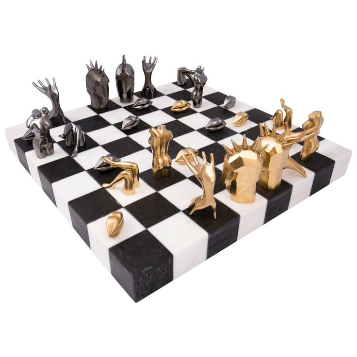 Kelly Wearstler Dichotomy Chess Set | From a unique collection of antique and modern games at https://www.1stdibs.com/furniture/more-furniture-collectibles/games/