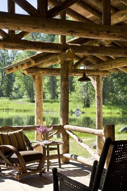 1000 images about pretty rustic pergolas on pinterest for Log cabin porches and decks